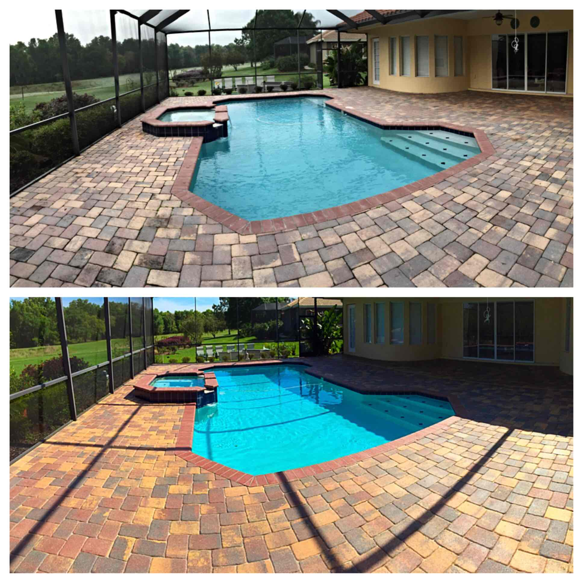 before and after pool deck sealer